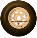 ST225/75D15 Greenball Towmaster Trailer Tire and White Spoke Wheel (LRD) (5 Lug) (5 on 5)