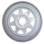 15x6 Carlisle White Eight Spoke Trailer Wheel (5 Lug)