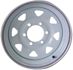 16x6 Carlisle White Spoke Trailer Wheel (8 Lug)