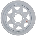 15x6 Greenball White Spoke Trailer Wheel (6 Lug) (6 on 5.5)