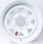 16x6 Greenball White Spoke Trailer Wheel (6 Lug)